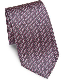 Horseshoe-print Silk Tie