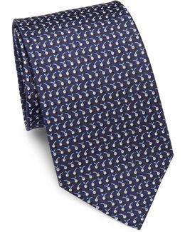 Mini Cherry-print Silk Tie