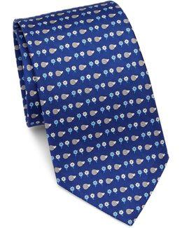 Hedgehog Flower Print Silk Tie
