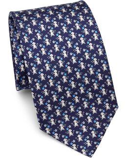 Monkey Flowers Print Silk Tie