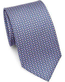 Wilting Flower-print Silk Tie