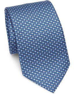 Gancini Buckle Belt Print Silk Tie