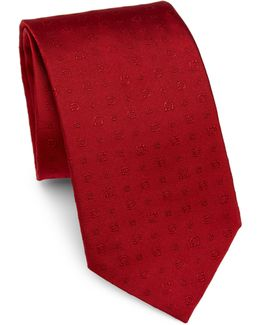 Embroidered Gancini Silk Tie