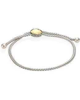 Classic Chain Hammered 18k Yellow Gold & Sterling Silver Pull Through Bracelet