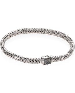 Classic Chain Extra Small Grey Sapphire & Sterling Silver Bracelet
