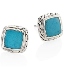 Classic Chain Turquoise & Sterling Silver Stud Earrings
