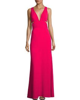 Deep V-neck Cutout Gown