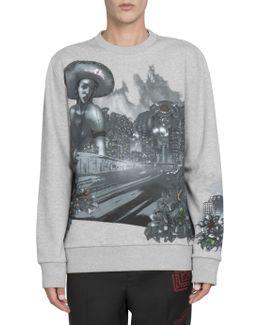 Abstract Printed Cotton Sweatshirt