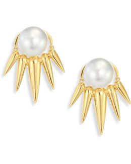 Spectrum 16mm White Tahitian Pearl & 18k Yellow Gold Ear Jacket & Stud Earrings Set