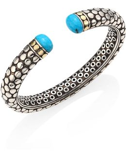 Dot Small Turquoise, Sterling Silver & 18k Yellow Gold Kick Cuff