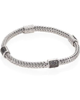 Classic Chain Extra Small Grey Sapphire & Sterling Silver Four-station Bracelet