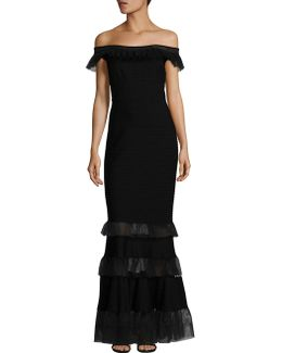 Pintuck Ruffled Tulle Gown
