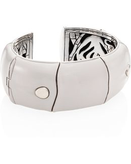 Bamboo Large Enamel & Sterling Silver Kick Cuff/white