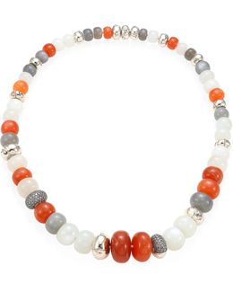 Bamboo Grey Diamond, Multicolor Moonstone & Sterling Silver Necklace