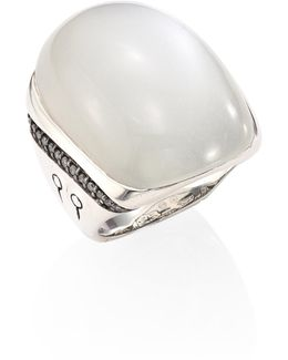 Bamboo Large Grey Diamond, White Moonstone & Sterling Silver Ring