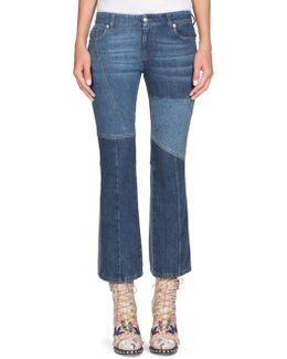 Cropped Patchwork Denim Jeans