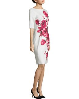 Floral Printed Scuba Sheath Dress