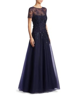 Illusion Floor-length Tulle Gown