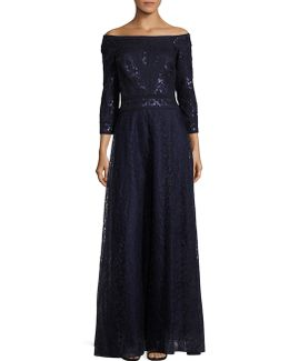 Three Quarter Sleeve A-line Sequined Gown