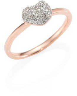 Nura Mini Heart Diamond Stacking Ring