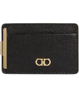 Pebbled Leather Money Clip Card Case