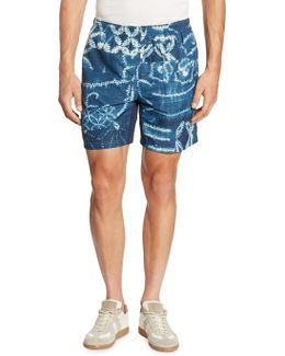 Shibori-printed Dobby Shorts