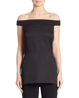 Piped Off-the-shoulder Tunic