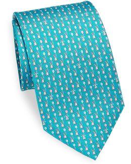 Rabbit & Balloon Printed Silk Tie