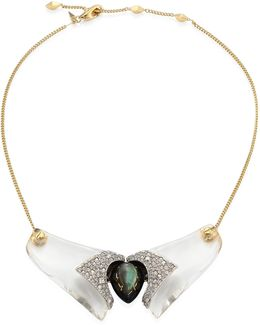 Lucite Crystal-encrusted Bib Necklace