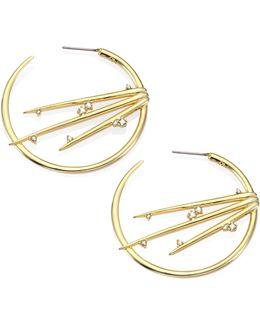 Elements Satelite Crystal Spiked Hoop Earrings/1.75