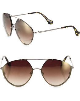 60mm Geometric Aviator Sunglasses