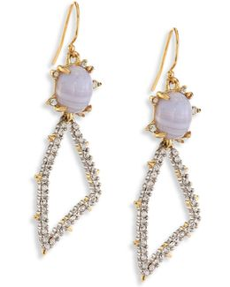 Elements Blue Lace Agate & Crystal Geometric Drop Earrings