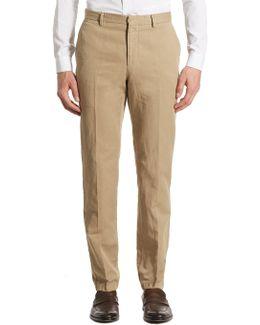 Regular-fit Garment-dyed Cotton & Linen Trousers