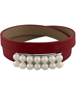 New Isla 6mm White Pearl & Leather Bracelet