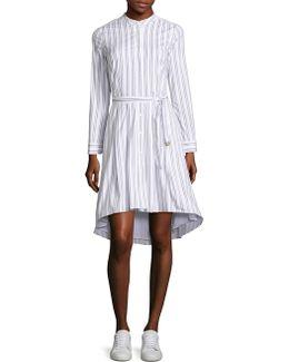 Bengal Striped High-low Shirt Dress