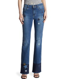 Star Frayed Bootcut Jeans