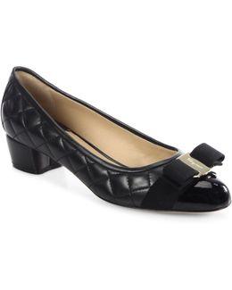 Vara Quilted Leather Block Heel Pumps