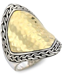 Classic Chain Two-tone Hammered Saddle Ring