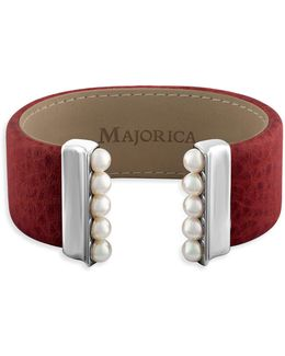 New Isla 5mm Organic Pearl & Leather Open Bangle