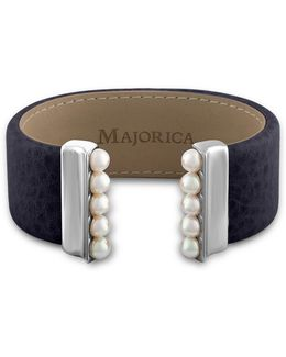 New Isla 5mm Organic Pearl & Leather Open Bangle/navy