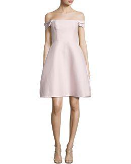 Off-the-shoulder Faille Dress
