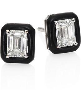 Oui Diamond & Enamel Stud Earrings
