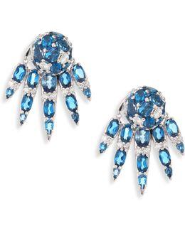 Spectrum Diamond & London Blue Topaz Stud & Ear Jacket Set