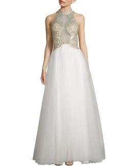 Beaded Mock Neck Gown