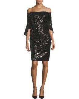 Sequined Off-the-shoulder Sheath Dress