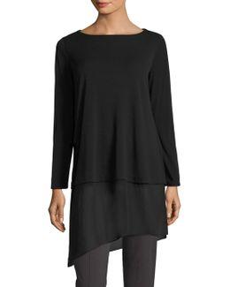 Silk Jersey Asymmetrical Hem Tunic