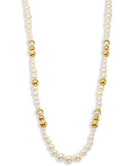 Capped Faux-pearl Strand Necklace/39
