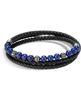 Leather, Silver & Lapis Bead Bracelet