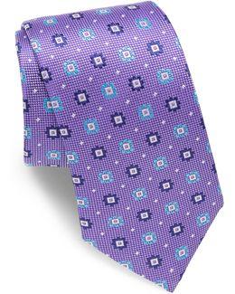 Floral Motif Silk Tie