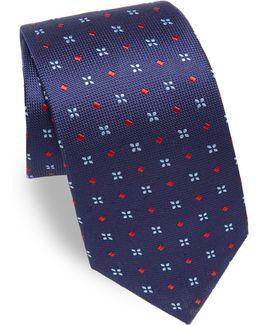 Embroidered Textured Silk Tie